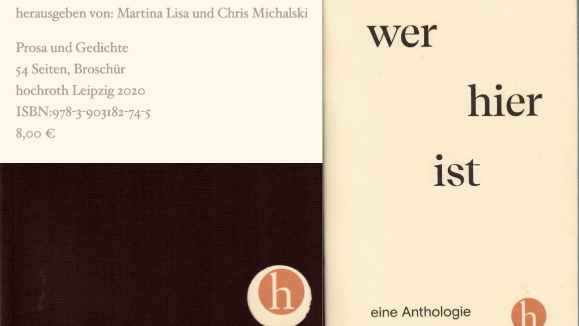 Wer Hier Ist – eine Anthologie – New Book 2020